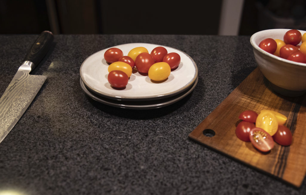 Chef's Knife and Cherry Tomatoes
