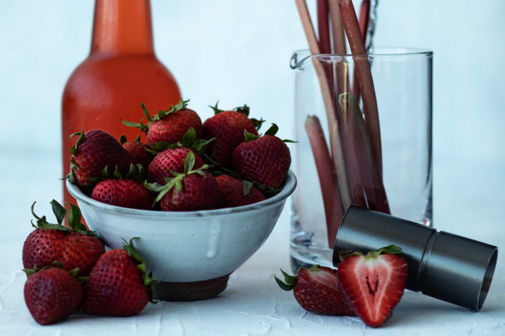 Strawberry Rhubarb Simple Syrup with Fresh Summer Fruit