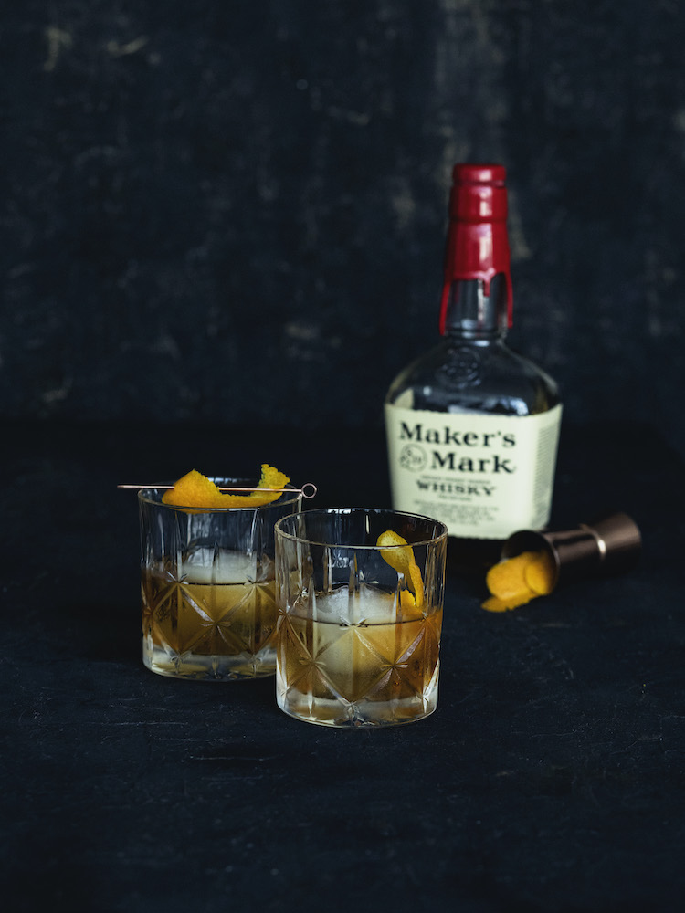 Old Fashioned Cocktails with Bourbon Bottle